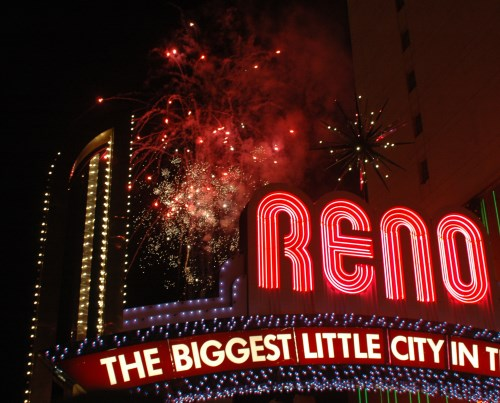New Year's Eve fireworks, downtown Reno, Nevada