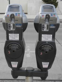 Parking meters, Reno, Nevada, NV