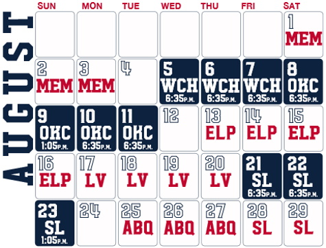 Reno Aces baseball game schedule - August, 2020