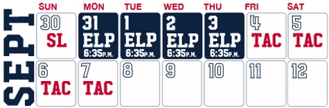 Reno Aces baseball game schedule - September, 2020