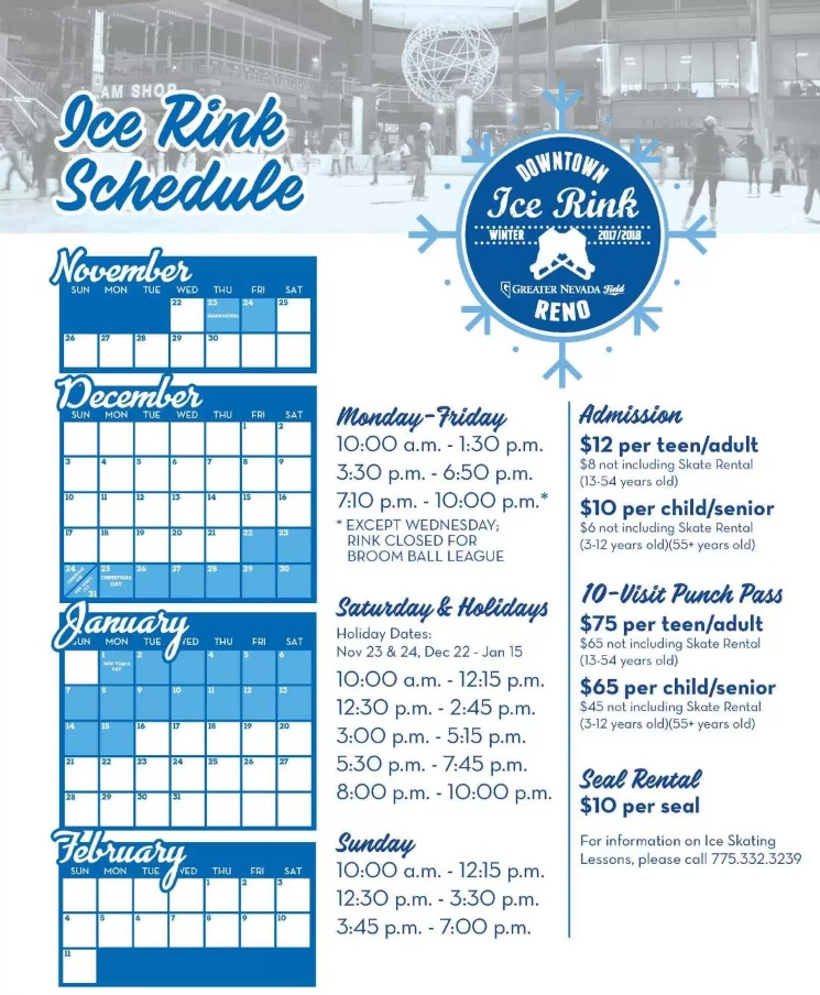 2017 - 2018 Reno Ice Rink schedule, Greater Nevada Field