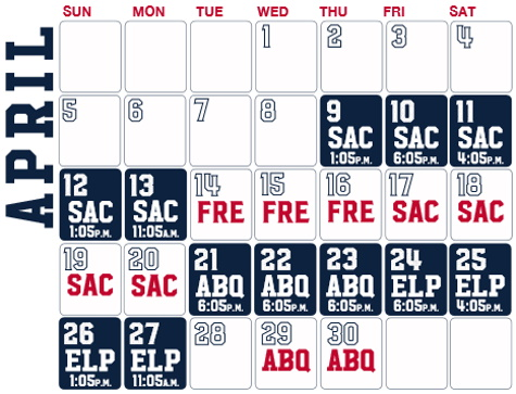 Reno Aces baseball game schedule - April, 2020
