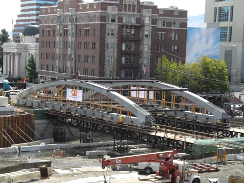 Virginia Street Bridge new arches moving into place over river, Reno, Nevada
